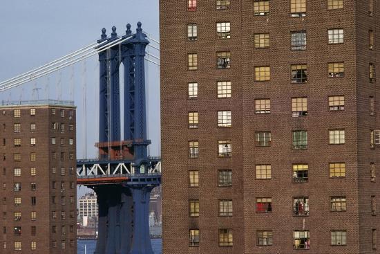 View of New York, Piers of Manhattan Bridge in Background, New York, USA--Giclee Print