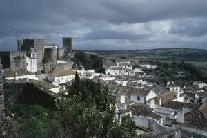 View of Obidos, with Castle of 13th Century and Walls, Leiria District, Portugal