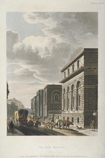 View of Old Bailey, Looking North, City of London, 1814-Rudolph Ackermann-Giclee Print