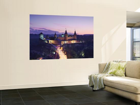 View of Old Castle at Dusk, Kamyanets-Podilsky, Podillya, UKraine-Ian Trower-Wall Mural