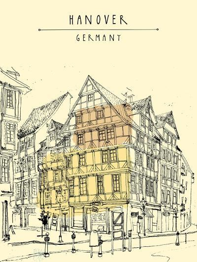 View of Old Center in Hanover, Germany, Europe. Historical Building Line Art. Freehand Drawing With-babayuka-Art Print
