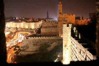 View of Old City Walls in Jerusalem with Tower of David with Night Lighting-Yossi Zamir-Photographic Print
