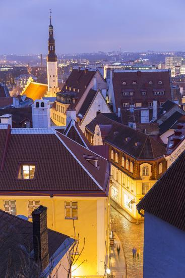 View of Old Town at Dusk, from Toompea, Tallinn, Estonia-Peter Adams-Photographic Print