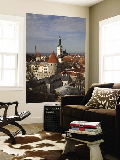 View of Old Town From Toompea, Late Afternoon, Tallinn, Estonia-Walter Bibikow-Wall Mural