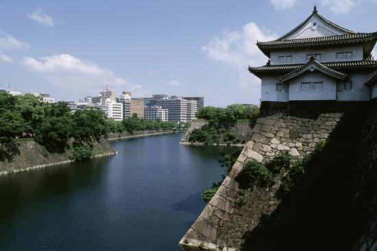 View of Osaka Castle and Moat Beneath, Kansai, Osaka, 16th Century, Japan--Giclee Print