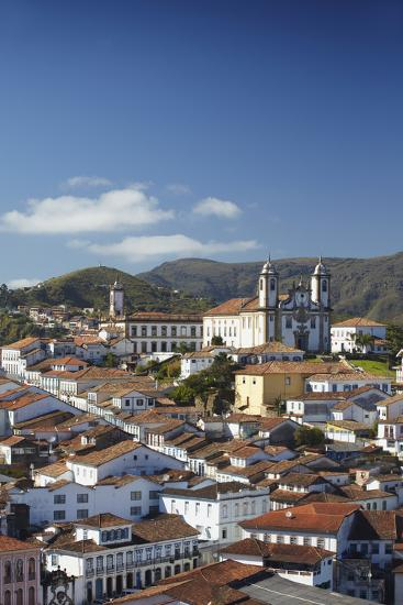 View of Ouro Preto, UNESCO World Heritage Site, Minas Gerais, Brazil, South America-Ian Trower-Photographic Print