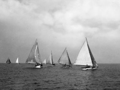 View of Oyster Dredgers Sailing across the Bay-Jacob Gayer-Photographic Print