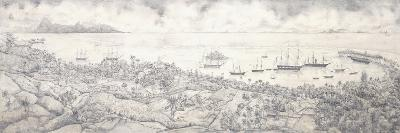 View of Papeete, Tahiti, Overlooking the Harbour Towards Moorea, Mid 19th Century (Pencil)--Giclee Print