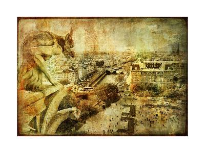 View Of Paris From Notre Dame - Artwork In Retro Style-Maugli-l-Art Print