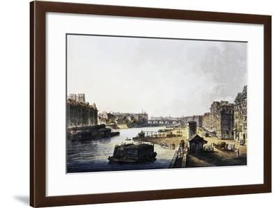 View of Paris with Seine, 1806, Aquatint, France, 19th Century--Framed Giclee Print