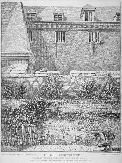 View of Parts of London Wall and Old Bethlehem Hospital (Bedla), City of London, 1814-John Thomas Smith-Giclee Print