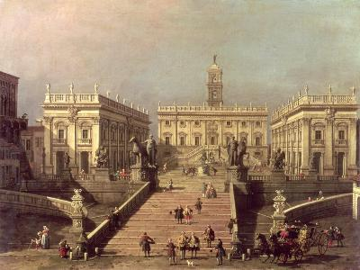 View of Piazza Del Campidoglio and Cordonata, Rome-Canaletto-Giclee Print