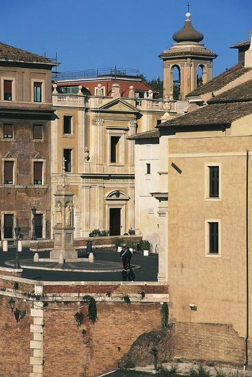 View of Piazza Di St Bartholomew on Island, Tiber Island, Rome--Photographic Print