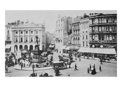 View of Piccadilly Circus, C. 1900 (B/W Photo)-English Photographer-Giclee Print