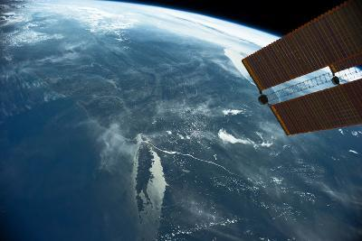View of planet Earth from space showing East coast and Massachusetts, USA--Photographic Print