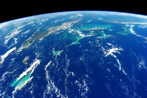 View of planet Earth from space showing Turks and Caicos Islands and Cuba