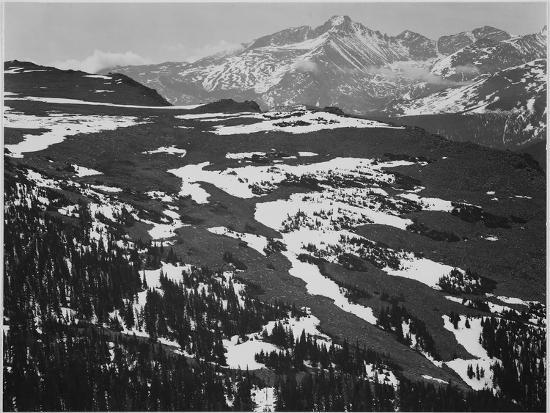 """View Of Plateau Snow Covered Mountain In Bkgd """"Long's Peak Rocky Mountain NP"""" Colorado. 1933-1942-Ansel Adams-Art Print"""