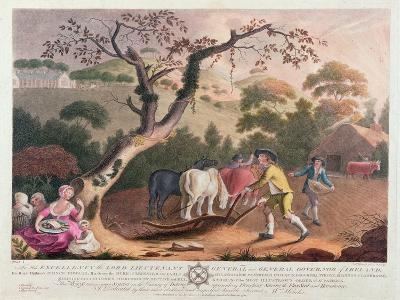 View of Ploughing, Sowing Flax Seed and Harrowing, 1791-William Hincks-Giclee Print