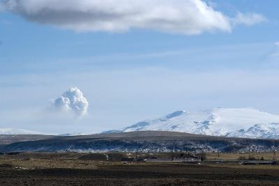View of Plume from Eyjafjallajokull Volcano, Seen from Hotel Ranga, Hella, Southern Icelan-Natalie Tepper-Photographic Print