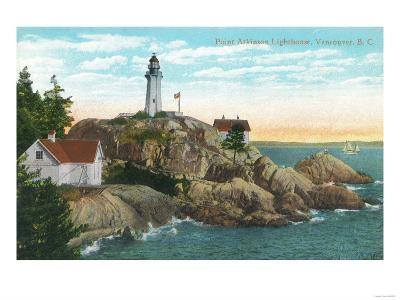 View of Point Atkinson Lighthouse - Vancouver, BC, Canada-Lantern Press-Art Print