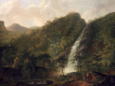 View of Powerscourt Waterfall-George Barret-Giclee Print