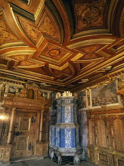 View of Princely Room with Inlaid Ceiling and Majolica Stove--Giclee Print