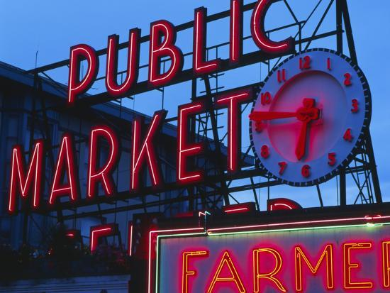 View of Public Market Neon Sign and Pike Place Market, Seattle, Washington, USA-Walter Bibikow-Photographic Print
