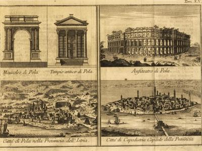 View of Pula, Arch of Sergi, Temple of Rome and Augustus, Amphitheatre and View of Koper, 1730