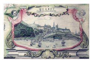 View of Quebec City on the St. Lawrence River, in a 1688 Map of North America