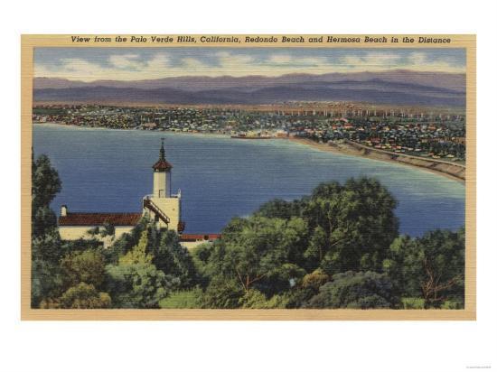 View of Redondo & Hermosa Beaches, California - Palo Verde Hills, CA-Lantern Press-Art Print