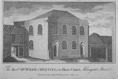 View of Reverend Francis Webb's Meeting House, Hare Court, City of London, 1784--Giclee Print