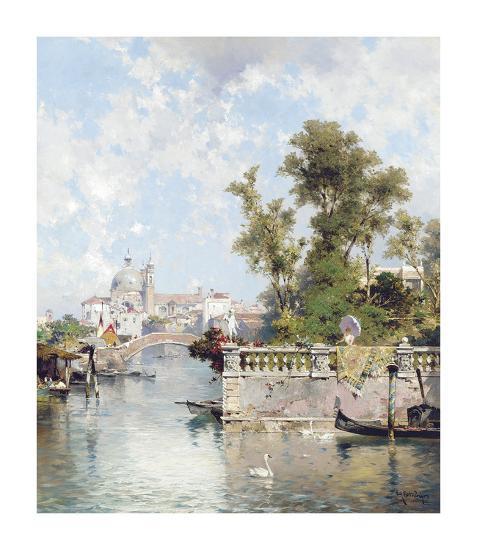 View of Rio Ognissanti with Church of Gesuati beyond-Franz Richard Unterberger-Premium Giclee Print