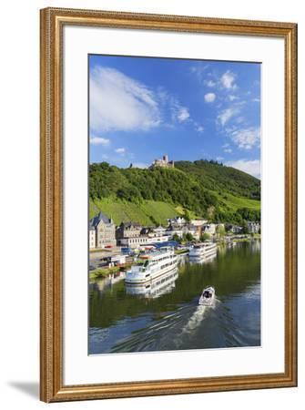 View of River Moselle and Burg Landshut, Bernkastel-Kues, Rhineland-Palatinate, Germany-Ian Trower-Framed Photographic Print