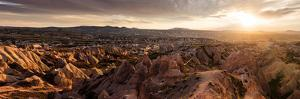 View of Rock Formations from Aktepe Hill at Sunset over Red Valley, Goreme National Park