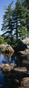 View of Rocks in a River, Moose River, Adirondack Mountains, New York State, USA
