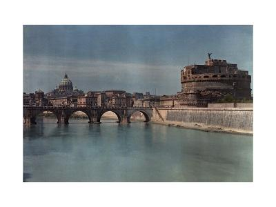 View of Rome from across the Tiber River-Hans Hildenbrand-Photographic Print