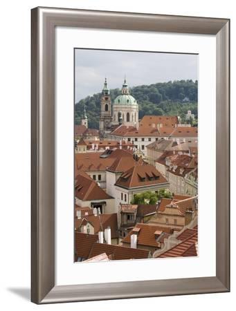 View of Rooftops, Church of St. Nicholas Dome, Little Quarter, Prague, Czech Republic, Europe-Martin Child-Framed Photographic Print