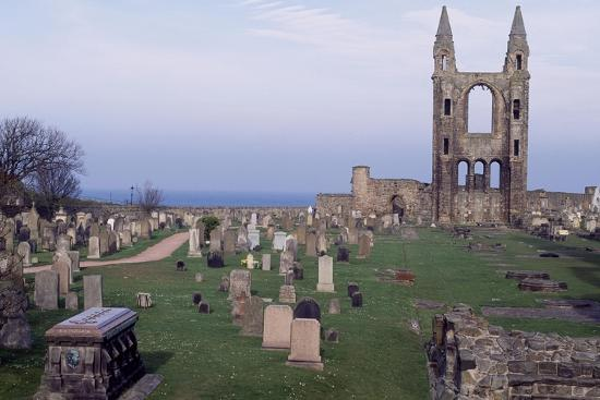 View of Ruins of St. Andrews Cathedral with Tower of St. Rule, Fife, Scotland, 12th-15th Century--Giclee Print