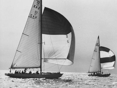 View of Sailboats During the America's Cup Trials-George Silk-Photographic Print