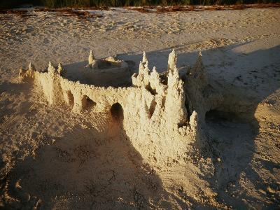 View of Sandcastle on Beach-David Barnes-Photographic Print