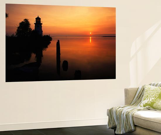 View of Sea and Lighthouse at Sunset, Cheboygan, Michigan, USA-Adam Jones-Wall Mural