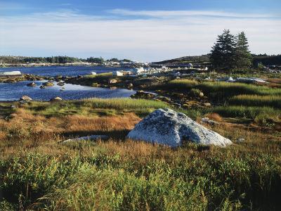 View of Sea with Coastline, Nova Scotia, Canada-Greg Probst-Photographic Print