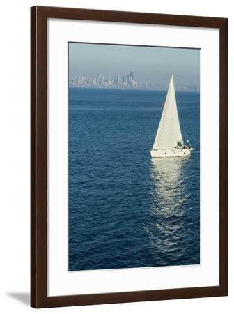 View of Seattle from Bainbridge (Island) Ferry, Washington, Usa-Natalie Tepper-Framed Photo