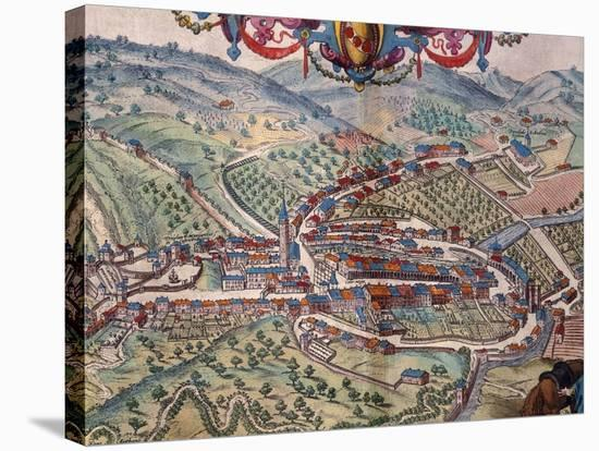 View of Serravalle Scrivia-Georg Braun and Franz Hogenberg-Stretched Canvas Print