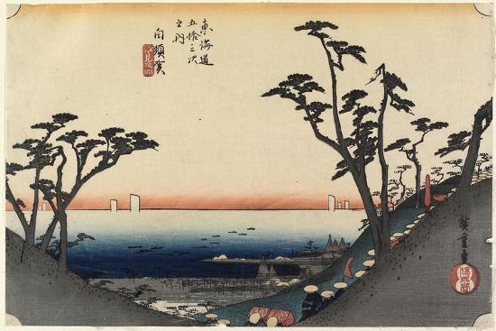 View of Shiomi Slope, Shirasuga, C. 1833-Utagawa Hiroshige-Giclee Print