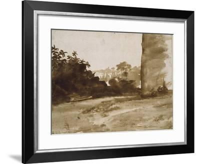 View of Shrubbery with a Wall on the Right-Claude Lorraine-Framed Giclee Print
