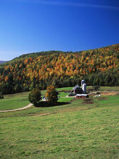 View of Silo and Autumn Landscape, Northeast Kingdom, Vermont, USA-Walter Bibikow-Photographic Print