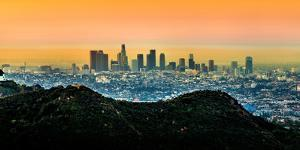 View of Skylines at Sunrise, City of Los Angeles, Los Angeles County, California, USA