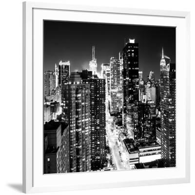 View of Skyscrapers of Times Square and 42nd Street at Night-Philippe Hugonnard-Framed Photographic Print