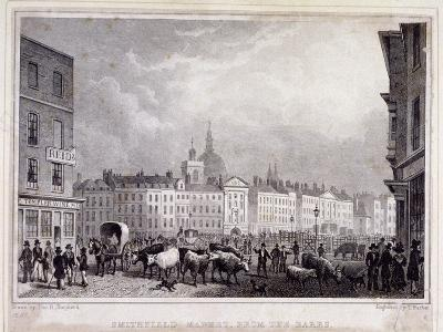 View of Smithfield Market from the Barrs, London, 1830-Thomas Barber-Giclee Print